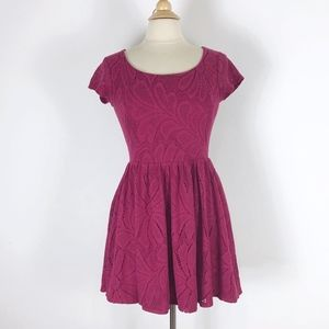 LC Lauren Conrad Lace Burgundy Maroon Mini Dress S